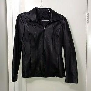 Black Leather Jacket - Avanti - Size Medium